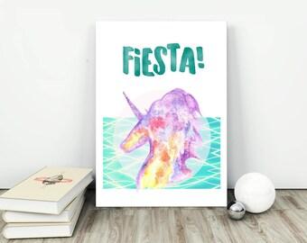 NEW!  FIESTA! Printable Art, Party Unicorn print, Unicorn art , Instant download, Home decor