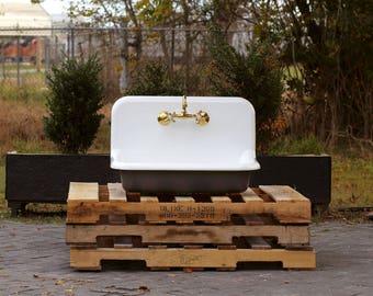 Vintage Style High Back Farm Sink Apron Kitchen Utility Sink
