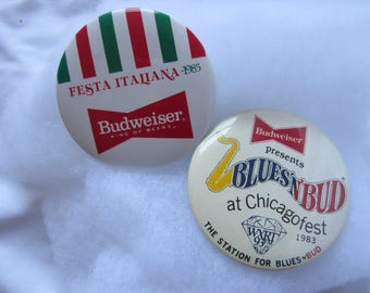 Pair of Budweiser Bud Vintage 80s Fest Button Pin