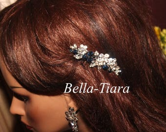 Swarovski crystal blue bridal comb,  navy blue hair comb, bridal comb, crystal hair comb, blue wedding hair comb, wedding comb