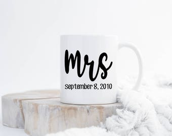 Mrs Coffee Mug, Wedding Mugs, Wedding Gift, Bridal Gift, Ceramic Coffee Mug, Newly Wed Gift, Couples Mugs, Sublimated Coffee Mug