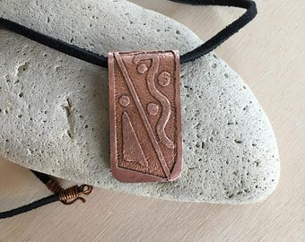 Women's etched necklace - Copper - Suede cord - 20 inch - Pendant - necklace