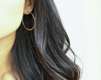 """2"""" Hammered Gold Filled Hoop Earrings (EH6)"""