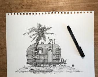 KillerBeeMoto: Original Pen Sketch of Trailer On Deserted Island (Prints Also Available)