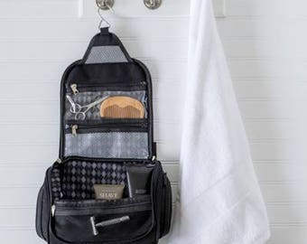 Personalized Men's Toiletry Bag, Hanging, Waxed Canvas and Leather