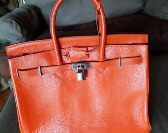 Hermes Birkin-style Orange Purse 35cm with silver hardware
