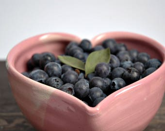 PINK ceramic heart bowl, Heart pottery bowl, heart shaped ceramic bowl,heart bowl, wedding