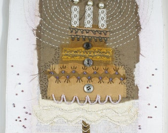 Whimsical Dessert Food Art Gift Stitched Textile Collage - Cake