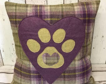 Heart and paws - purple, beige and green wool tartan , large heart and paw cushion