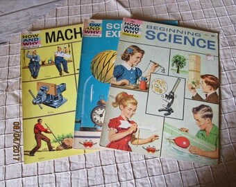 3 Vintage 1960's How And Why Wonder Books Beginning Science Machines & Science Experiments