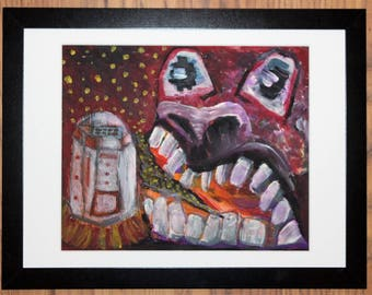 In a Previous Life, I Ate R2D2 Framed Art by Eilidh Morris - Fantasy Horror Painting Star Wars Universe - Original Expressive Surrealism
