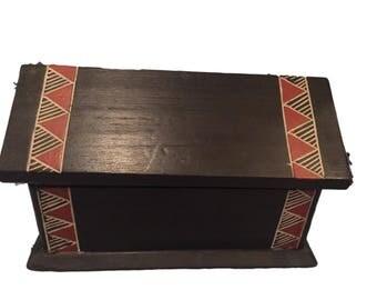 African Ashanti Wooden Jewelry Box