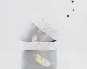 Fabric storage bucket baby accessory storage, baby gift baby girl, linen - cotton - glitter, pink, grey, yellow.