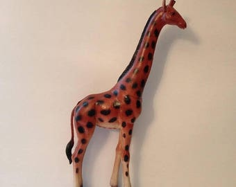 "ON SALE Vintage 1985 Imperial Honk Kong Hard Rubber Giraffe Toy Figure 13"" tall"