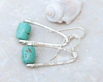 Rustic Turquoise Earrings, Hammered Sterling Silver Wishbone Earrings, Natural Stone Earrings, Light Turquoise Earrings, December Birthstone