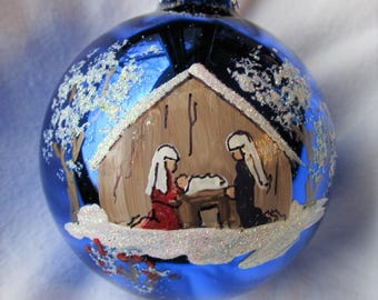 manger or nativity scene, hand painted glass ornament by me