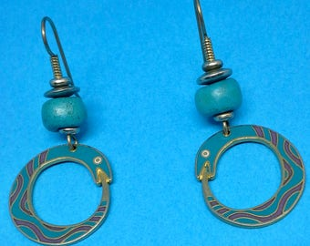 Laurel Burch serpent hoops earrings turquoise & purple gold plated