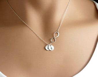 Personalized Infinity necklace Mommy Mothers necklace Grandma Gift Initial Silver Infinity necklace with initial disc Mother Christmas gift