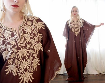 Vintage brown cotton embroidered ethnic hippie bohemian caftan kaftan dress free size extra-large