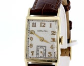 14K Yellow Gold Hamilton Wrist Watch Engraved Packard Motor Car Company 1950s