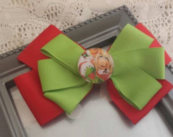 Kermit and Miss. Piggy holiday hair bow/ girls / baby /hair accessories /hair bow /Christmas /holiday /winter
