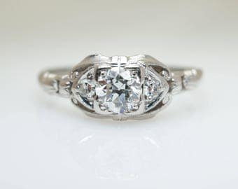 Vintage Art Deco .46CTW Old European Cut Diamond Engagement Ring 18k White Gold Diamond Ring Art Deco Engagement Ring