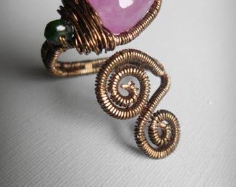 Bronze ring - purple gemstone