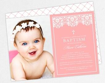 Photo Baptism Invitation, Christening Invitation, Girl Baptism Invitation, Printable Baptism, PDF, DIY, Printed, Lace Invite, Pink, Maura