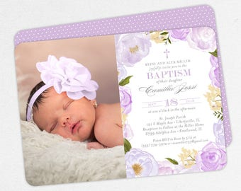 Photo Baptism Invitation, Christening Invitation, Girl Baptism Invitation, Printable Baptism, Watercolor Flowers, Floral, Purple, Camilla