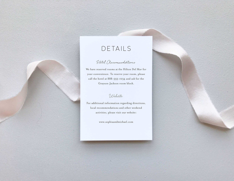 Greenery Minimalist Wedding Invitation Sample / Letterpress or ...