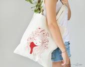 SAC cabas «Coquelicot», sac coton eco, Silk-screened tote bag, sac, petit sac
