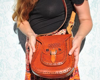 Leather bag, leather bag womens, leather crossbody bag, leather shoulder bag, leather purse, tooled leather purse, tooled leather bag
