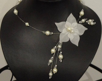 Wedding bridal necklace Pearl White or ivory satin flower, glass beads