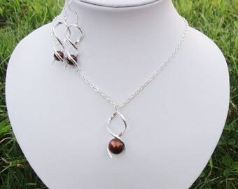 Set necklace + chocolate brown Twist bridal wedding party earrings 925 sterling silver