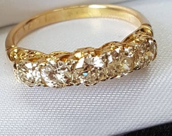 Vintage Five Stone Old Cut Diamond Ring 1ct