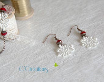 Earrings Lace guipure daisy and red pearl
