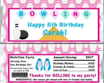 BOWLING Birthday Chocolate Bar Wrappers - BOWLING Party Candy Bar Wrap - Custom Wrappers - Candy Wrappers Party Favors