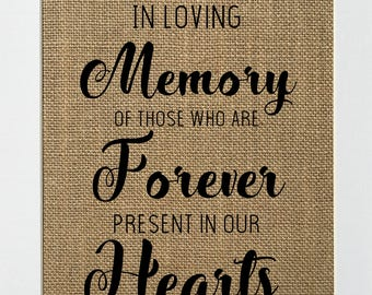 In Loving Memory Of Those Who Are Forever In Our Hearts  - BURLAP SIGN 5x7 8x10 - Rustic Vintage/Home Decor/Memorial/Love House Sign