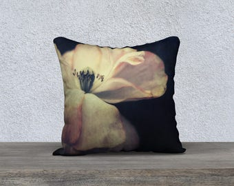White Poppy Throw Pillow  18 x 18 Inches