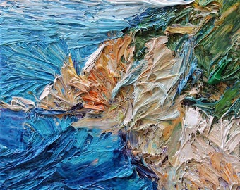 Gicleé art print, seascape painting, impasto art, italian coast, coastal fine art print
