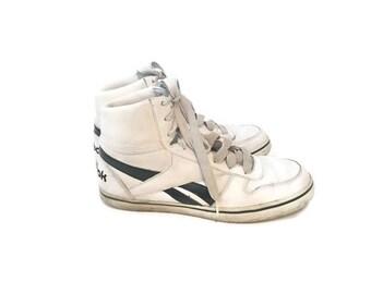 Vintage White Navy Reebok High Top Sneakers / Size 10