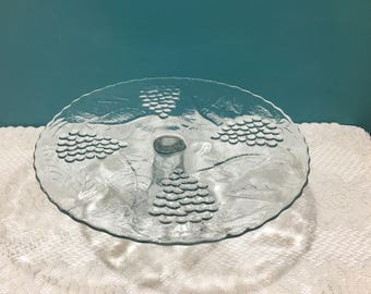 Cake Stand with Pedestal ~ Stunning Glass Pattern ~ Heavy Thick Glass ~ Excellent Condition ~ Dessert Display ~ Cake Platter