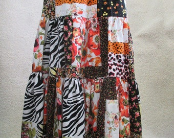Skirt tiered skirt patchwork colourful Maxi skirt