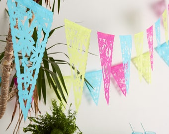 Fiesta Bunting, Boho Lace Bunting, Mexican Bunting, Papel Picado for Parties, Bridal Shower Decor, Hen-do Decor, Paper Party Banner