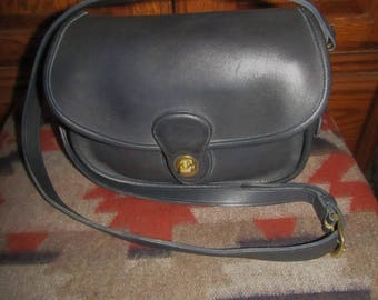 "Coach ~ Prairie Bag ~ Navy ~ Glove ~ Leather ~ Vintage ~ Recycled ~ Mint ~ Retro ~ Medium Size ~ 10"" X 7"" X 3"""