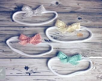 """Vintage Inspired Crochet Mini Lace Bow Headband, Baby Headband, Hair Clips or Headband, Nylon Bow Headband, 2"""" Bows, Lace Bows, Dainty Bows"""