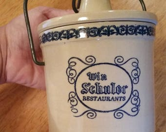 Vintage Stoneware Win Schuler Restaurants Blue Cheese Crock Canister Bail Wire Top Closure Collectible Kitchen Container Home Decor Accent