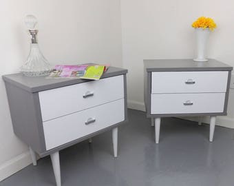 Nightstands Gray & White Aluminum Pulls Night Stands Painted End Tables Mid Century Modern Wood Cabinets Vintage Bedroom FREE USA SHIPPING!