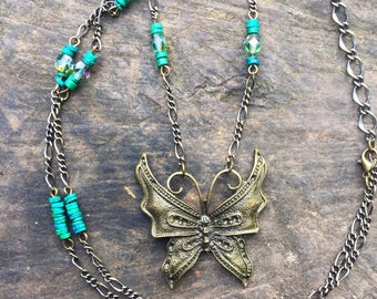 boho butterfly necklace, long necklace, crystal necklace, bohemian jewellery, gift for her, uk seller, uk shop