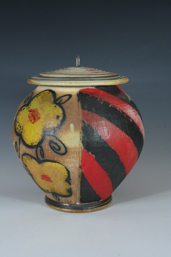Yellow Pansy, Red Striped Lidded Jar
